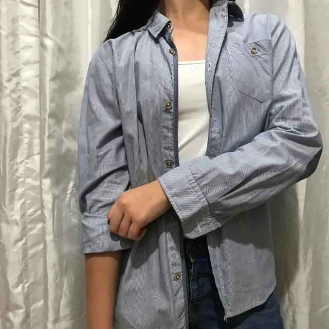 Zara Boyfriend Blue Shirt