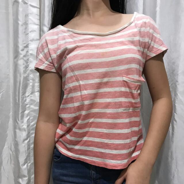 Zara TRF Pink Stripes T-Shirt