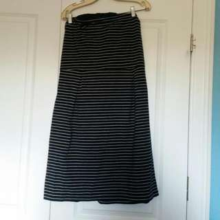 BNWT Black And White Striped Strapless Dress
