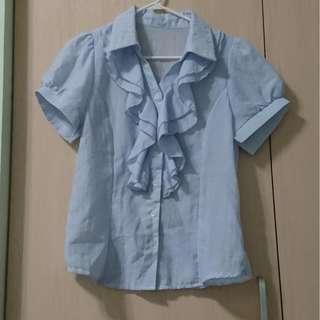 水藍荷葉邊襯衫  二手