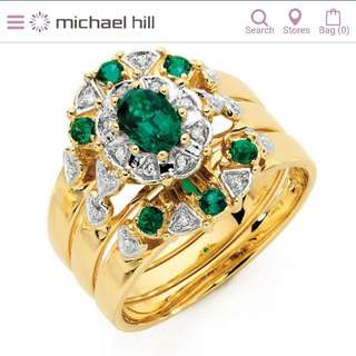 Emeald And Diamond Gold Ring With Lifetime Care Plan