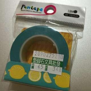 紙膠帶全新卷-知音綠底黃檸檬全新卷