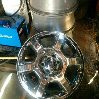 Stock Ford F150 rims.