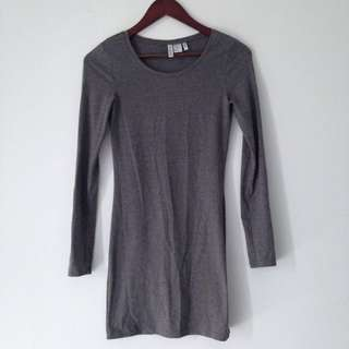 Grey Long Sleeved Jersey Dress