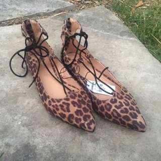 Cheetah Lace Up Flats