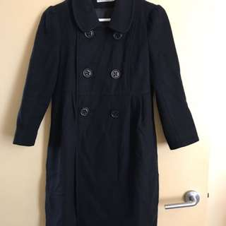Izzue Size Xs Size 6 Black Wool Cashmere Coat 3/4 Sleeves