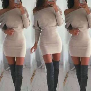 Lioness Off The Shoulder Nude Dress