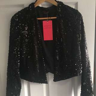 Pilgrim Black Sequin Blazer Jacket 12