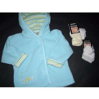 BNWT & AS NEW Bonds Boys/Girls Jacket & Socks Size NB & 00