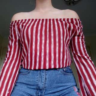 Red Striped One The Shoulder Top