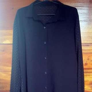 Sheer Black Long Sleeved Shirt