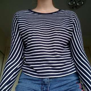 Witchery Navy And White Striped Top