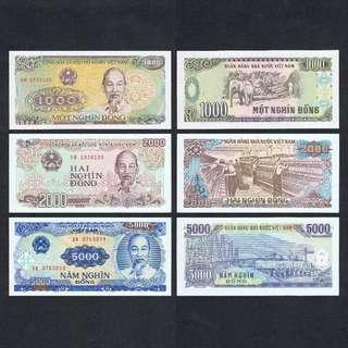 SET 1988-1991 VIETNAM 1000 2000 & 5000 DONG P-106a 107a 108 UNC