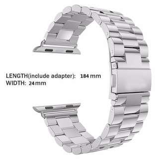 (連禮物盒)42mm 銀色鋼錶帶 Apple Watch Band Stainless Steel Metal Strap Double Button Folding Clasp (in box)