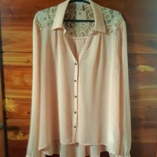 Forever 21 Sheer Top With Lace Detail