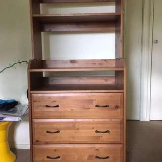 Table, Drawers, Shelves