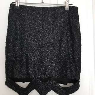 Matte Black Sequin Skirt