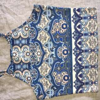 Blue Patterned Crop Top