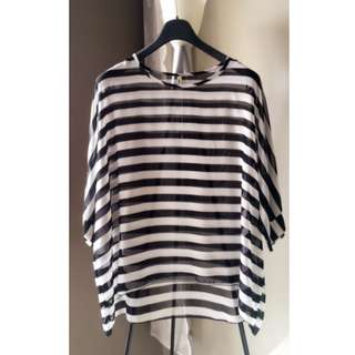 NEW Oversized High Low Batwing Striped Top