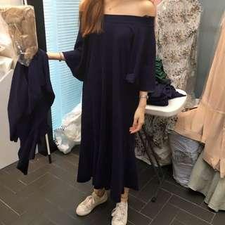 花泥小姐轉售 正韓大饅大力推款連身露肩魚尾深藍洋裝