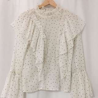 Spotted Sheer Blouse