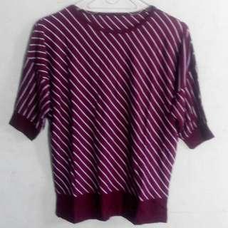 (Cuci Gudang) Kaos Oblong Blouse Wanita Salur Kombinasi Tangan Pendek