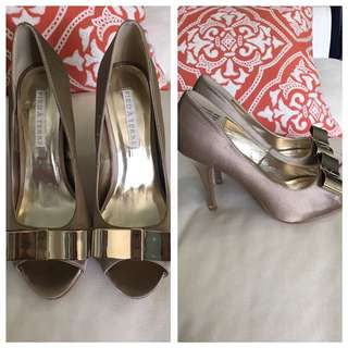 Beige Satin Like Gold Bow Heels 8 8.5