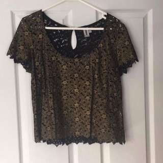 Bettina Liano Gold & Black Lace Brocade Top 12