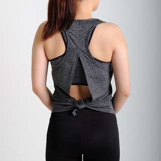 Female Workout Tank Top Open Back (Charcoal)
