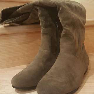 Knee High Taupe Suede Boots
