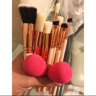 Brush Makeup 8pcs + 2sponge