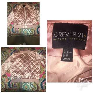 SATIN PINK BOMBER JACKET- Forever 21 Plus Size