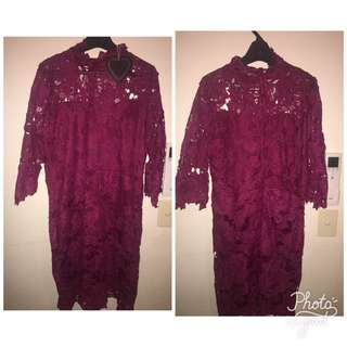 Burgundy Lace Plus Sized Dress