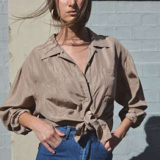 Vintage 90s taupe silk button up shirt