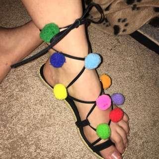 Pom Pom Wrap Sandals