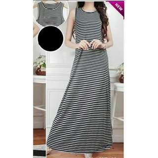 (Ada 2 Warna) Long Dress Singlet Sleeveless Salur Hitam Putih