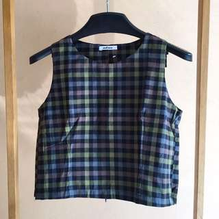 Checked Sleeveless Cropped Top