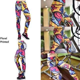 Baru!!! Celana Legging Yoga - Floral Printed