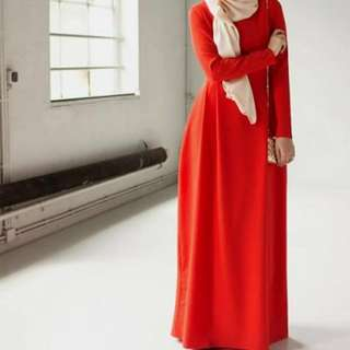 (Cuci Gudang) Long Dress Tangan Panjang Merah Polos