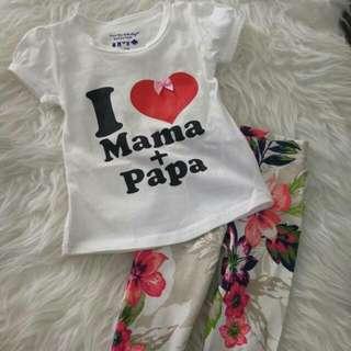 I ❤ Mama & Papa Tee W Leggings