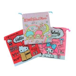 Japan Sanrio Hello Kitty Melody Kikilala Cloth Drawstring Pouch