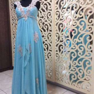 REPRICE!! Baby Blue Long Dress with Silver Flowers/ Gajn Pesta Panjang Biru Muda