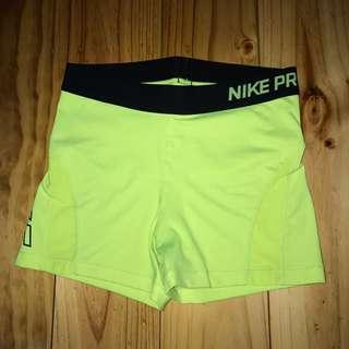 Fluro Yellow Nike Pro Shorts