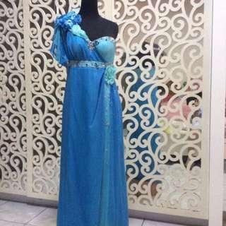 REPRICE!! Asymmetric One Shoulder Blue Ocean Dress/Gaun Pesta panjang biru Asimetris