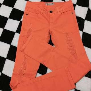 Orange Ripped Jeans