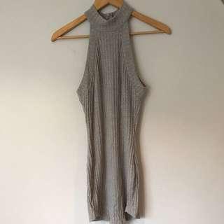 Grey Ribbed Midi Dress