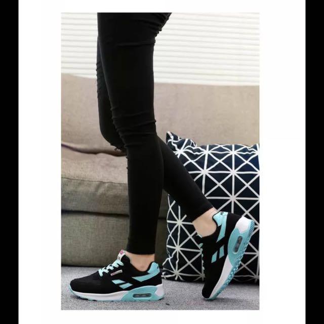 2017新款女鞋夏季透氣百搭運動鞋女韓版學生鞋水藍黑厚底
