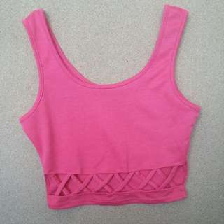 Pink Charlotte Russe Cut Out Crop Top