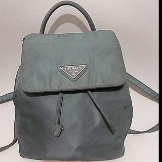 🈹⬇️罕有可愛特別靚灰藍色PRADA Mini Backpack Bag 背包 背囊 銀包 Not Chanel Hermes LV Gucci Loewe Celine Ysl Herbag Salvatore Ferragamo Vintage