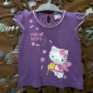 Original HELLO KITTY Purple Shirt For 3 Years Old